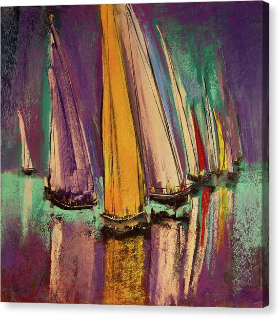 Canvas Print featuring the pastel The Race by David Patterson