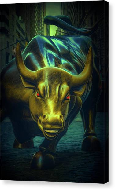 Canvas Print featuring the photograph The Raging Bull by Chris Lord