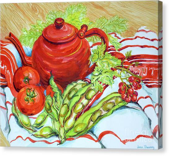 The Bean Canvas Print - The Red Teapot by Joan Thewsey