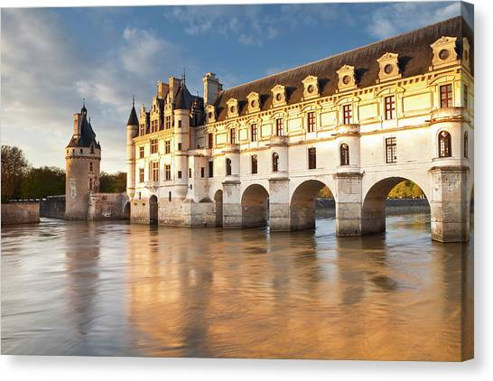 Chenonceau Castle Canvas Print - The River Cher And Chateau Chenonceau by Julian Elliott / Robertharding
