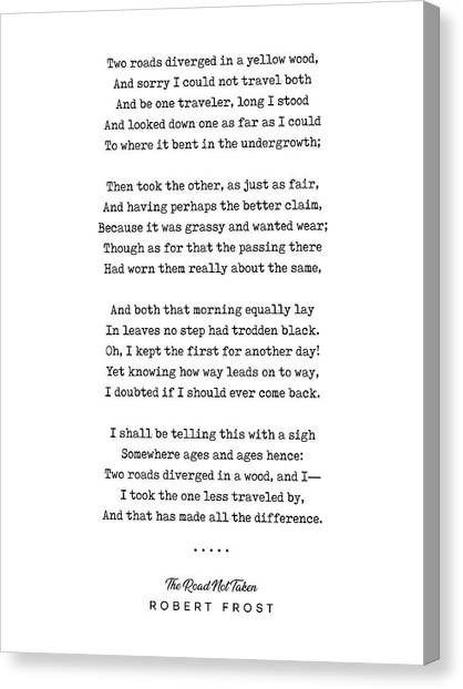 Simple Canvas Print - The Road Not Taken - Robert Frost Poem - Minimal, Sophisticated, Modern, Classy Typewriter Print by Studio Grafiikka