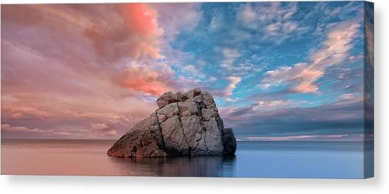 The Rock And The Sea Canvas Print