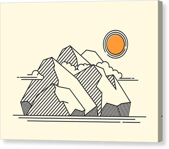 Mountain Climbing Canvas Print - The Rocky Mountains Landscape - Lineart by Sheveleva Natalia