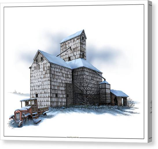 The Ross Elevator Winter Canvas Print