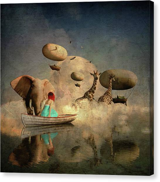 Canvas Print featuring the digital art The Run Of The Animals To The Ark by Jan Keteleer