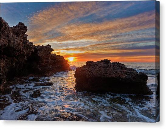 The Sea In Oropesa At Sunrise On The Orange Blossom Coast Canvas Print