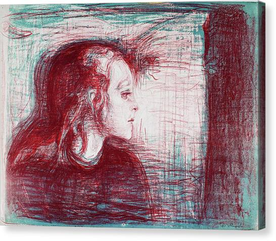 Sick Canvas Print - The Sick Child - Digital Remastered Edition by Edvard Munch