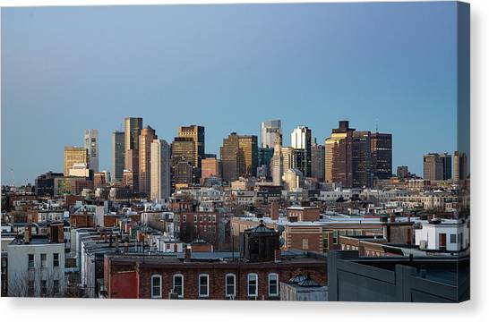 The Skyline Of Boston In Massachusetts, Usa On A Clear Winter Ev Canvas Print