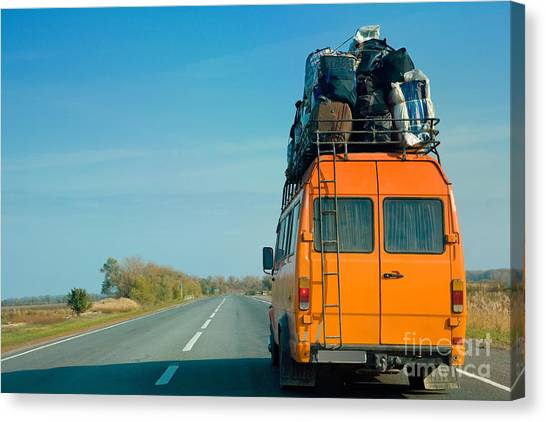 Horizontal Canvas Print - The Small Bus With Bags On A Roof by Krivosheev Vitaly
