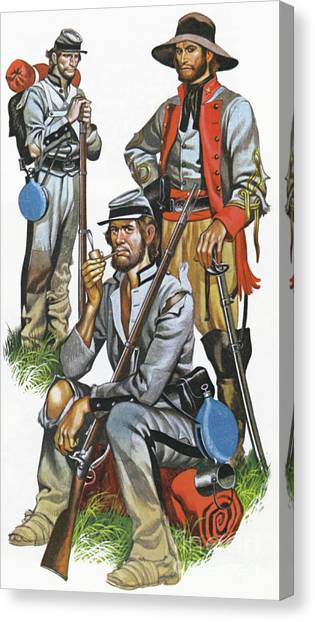 Confederate Army Canvas Print - The Southern Army In The American Civil War by Ron Embleton