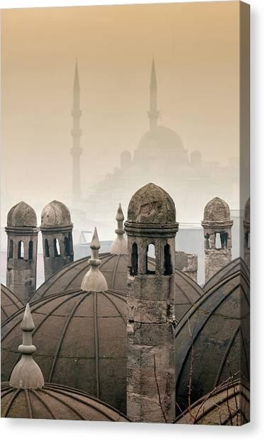 Suleymaniye Canvas Print - The Suleymaniye Mosque And New Mosque by Ayhan Altun