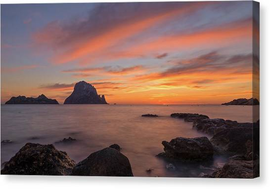The Sunset On The Island Of Es Vedra, Ibiza Canvas Print