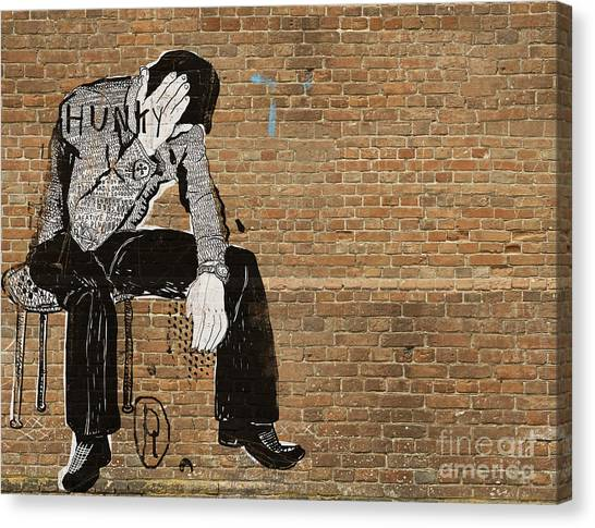 Bricks Canvas Print - The Symbolic Image Of The Man Who Sat by Dmitriip