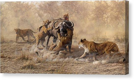 Canvas Print featuring the painting The Take Down - Lions Attacking Cape Buffalo by Alan M Hunt