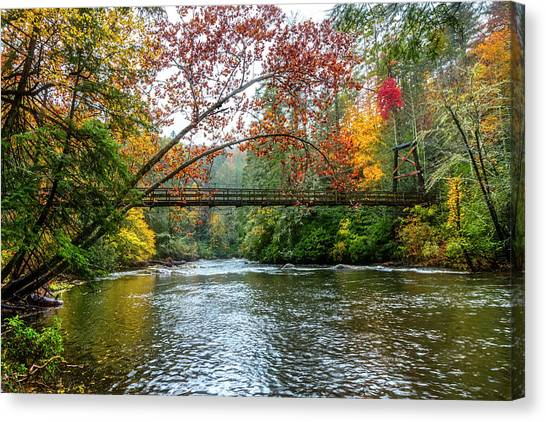 Canvas Print - The Toccoa River Hanging Bridge by Debra and Dave Vanderlaan