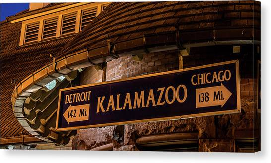 The Train Station Sign In Kalamazoo Canvas Print
