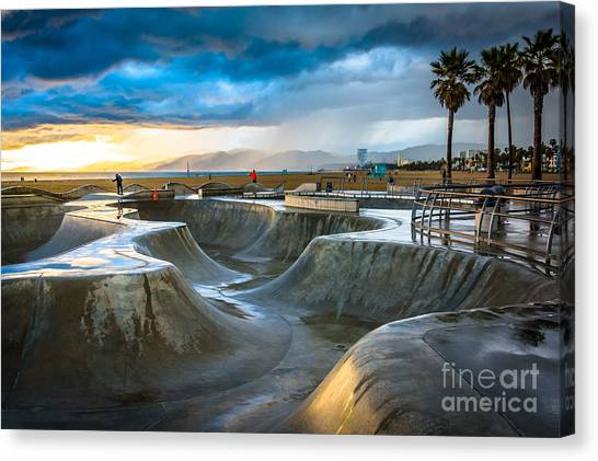 Ca Canvas Print - The Venice Skate Park At Sunset, In by Jon Bilous