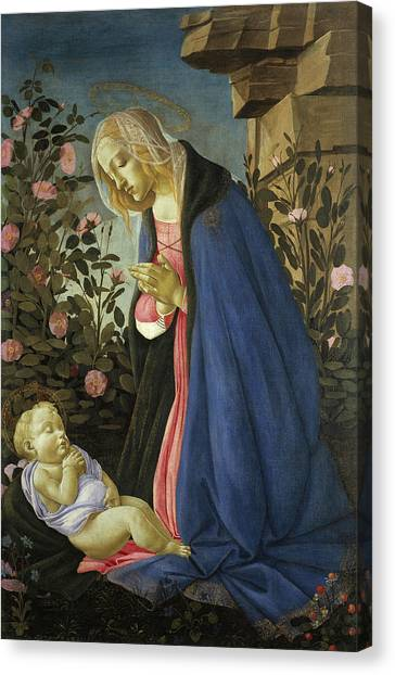 Botticelli Canvas Print - The Virgin Adoring The Sleeping Christ Child by Sandro Botticelli