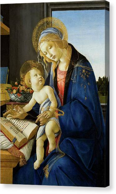 Botticelli Canvas Print - The Virgin And Child, The Madonna Of The Book by Sandro Botticelli