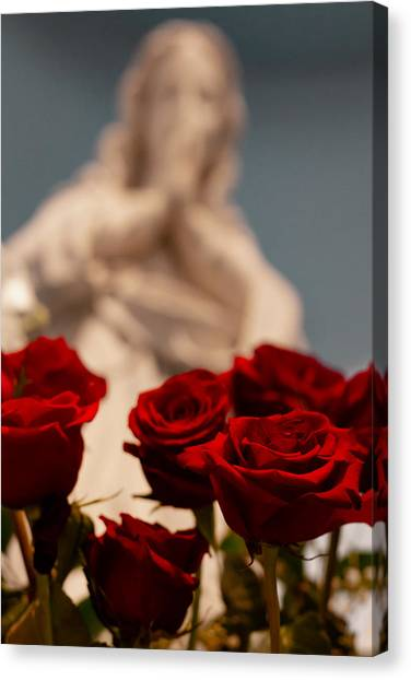 The Virgin With Roses Canvas Print by Christine Buckley
