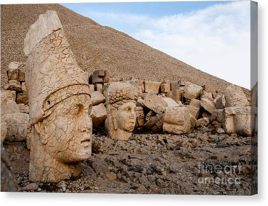 Monument Canvas Print - The West Terrace Of Mount Nemrut With by Cornfield