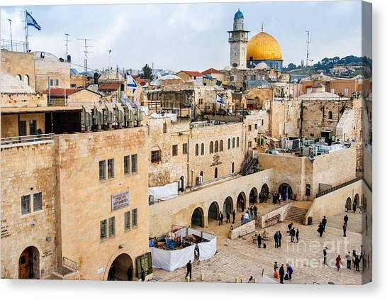 Worship Canvas Print - The Western Wall,temple Mount by Zhukov