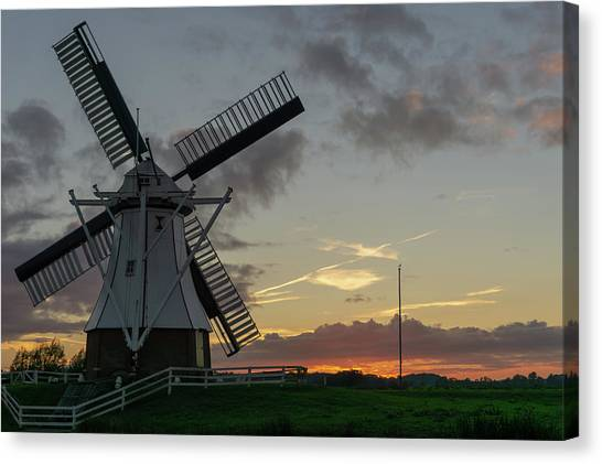 Canvas Print featuring the photograph The White Mill by Anjo Ten Kate