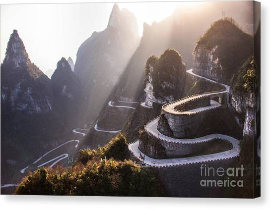 Cliffs Canvas Print - The Winding Road Of Tianmen Mountain by Kikujungboy