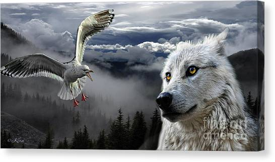 The Wolf And The Gull Canvas Print