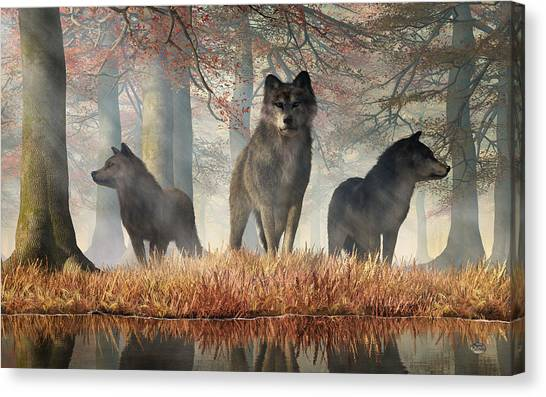 Canvas Print featuring the digital art The Wolves Of Autumn by Daniel Eskridge