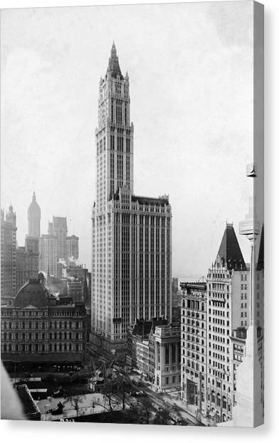 The Woolworth Building On Broadway Canvas Print by Fpg