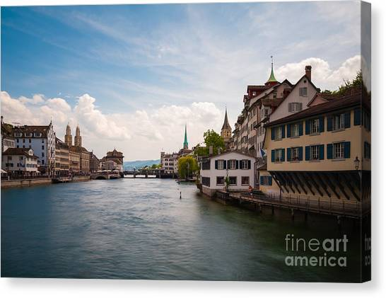 Church Canvas Print - The Zurich Cityscape. Switzerland by Roman Vukolov