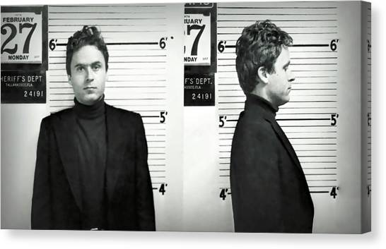 Ted Bundy Canvas Print - Theodore Bundy - Florida Mugshot 1978 by Daniel Hagerman