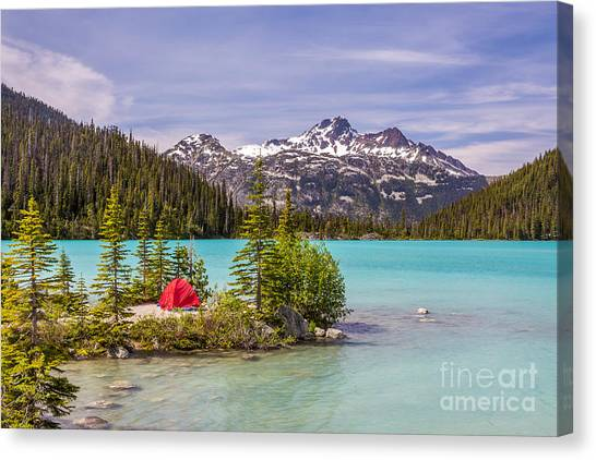 Stunning Canvas Print - This Red Tent Is A Nice Contrast With by Pierre Leclerc