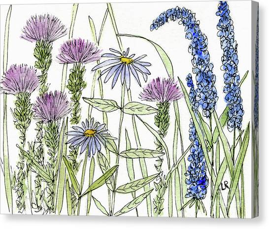 Thistle Asters Blue Flower Watercolor Wildflower Canvas Print
