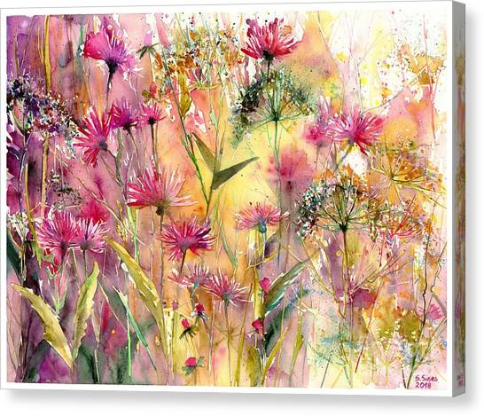Cosmos Flower Canvas Print - Thistles Impression by Suzann's Art