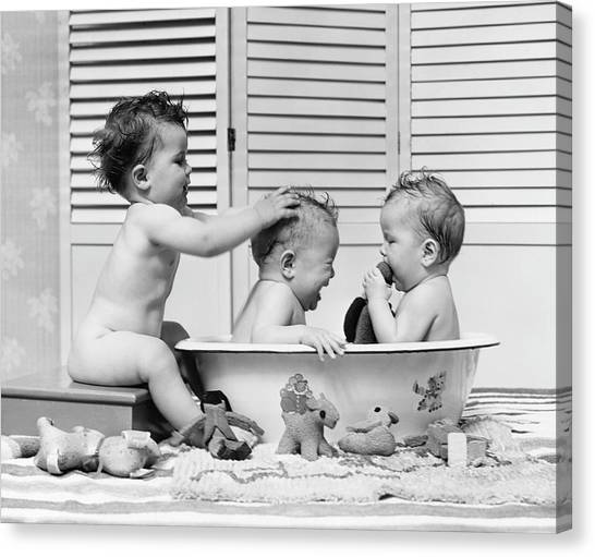 Three Babies In Wash Tub, Bathing Canvas Print by H. Armstrong Roberts