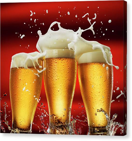 Three Beer Glasses Canvas Print