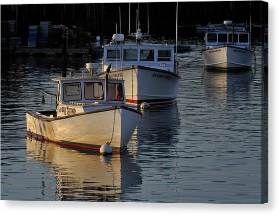 Three Boats In Maine Canvas Print