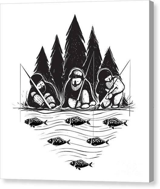 Black And White Canvas Print - Three Fisherman Sitting On River Bank by Popmarleo