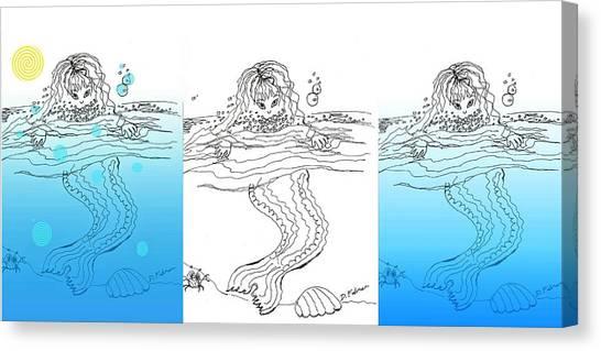 Three Mermaids All In A Row Canvas Print