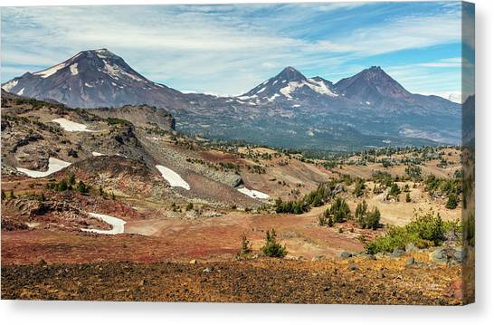 Canvas Print featuring the photograph Three Sisters From Tam Macarthur Rim by Stuart Gordon
