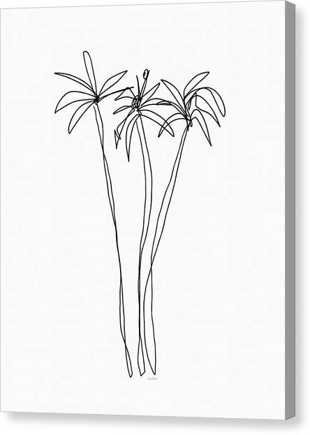 Spring Trees Canvas Print - Three Tall Palm Trees- Art By Linda Woods by Linda Woods