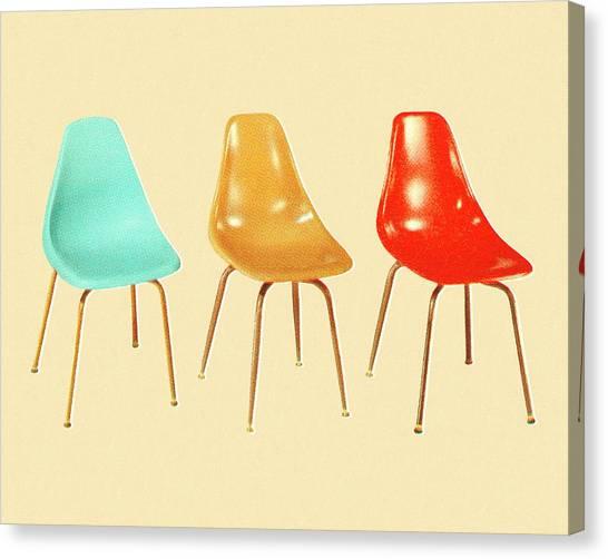 Three Vintage Chairs Canvas Print
