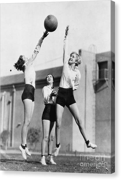 Exercising Canvas Print - Three Women With Basketball In The Air by Everett Collection