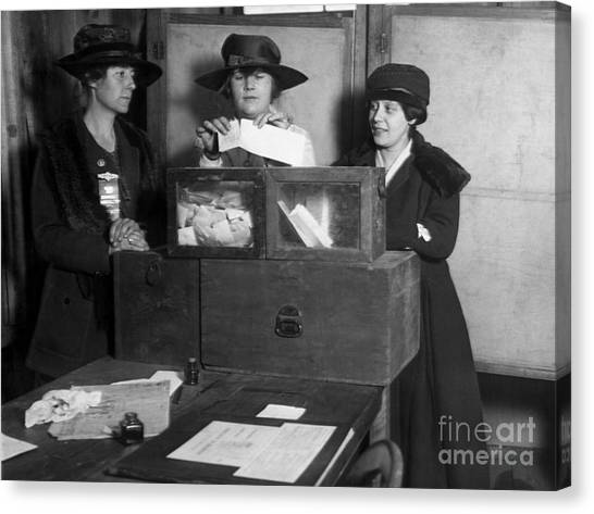 Rights Canvas Print - Three Womens Suffragists Casting Votes by Everett Historical