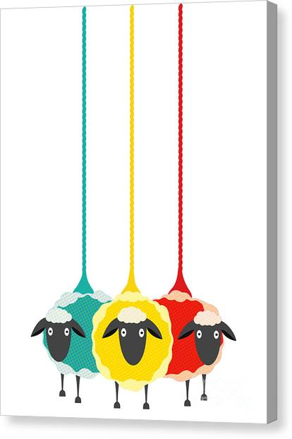 Three Yarn Sheep. Vector Eps10 Graphic Canvas Print by Popmarleo