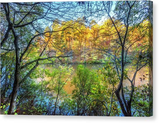 Canvas Print - Through The Trees In Autumn by Debra and Dave Vanderlaan