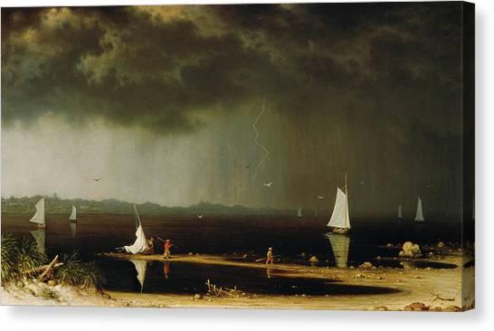 Thunder Bay Canvas Print - Thunder Storm On Narragansett Bay by Martin Johnson Heade