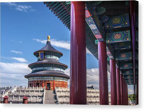 Placard Canvas Print - Tiantantemple Of Heaven by Wenjie Li